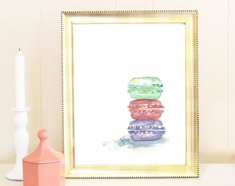 Pastel French Macaron Watercolor Painting