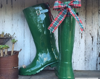 Winter Style, Navy, Plaid, Bow, Green, Rain Boots