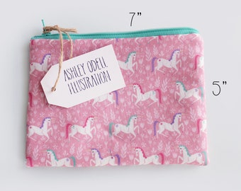 Unicorn Zipper Purse - Zipper Pouch - Zipper Bag - Coin Purse - Makeup Bag