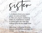Sister SVG PNG Digital File Digital Download Cut File Sublimation Design Siblings Day Sister Definition Cricut Silhouette