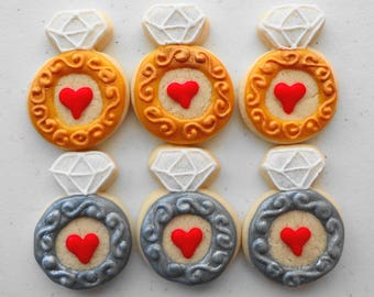 diamond ring cookie charms diamond ring cookie engagement ring cookie cookie favor bridal shower favor wedding favor