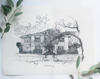 Signed and Numbered Original Letterpress Prints of the Rogers-Green House- Laurel, Mississippi