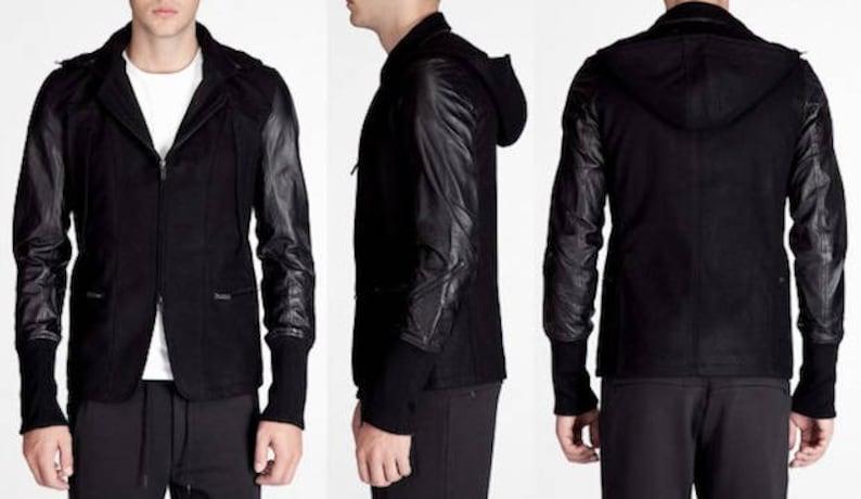 fd440c8492919 YOHJI YAMAMOTO Y3 Mens Black Leather   Wool Jacket with ZipOff
