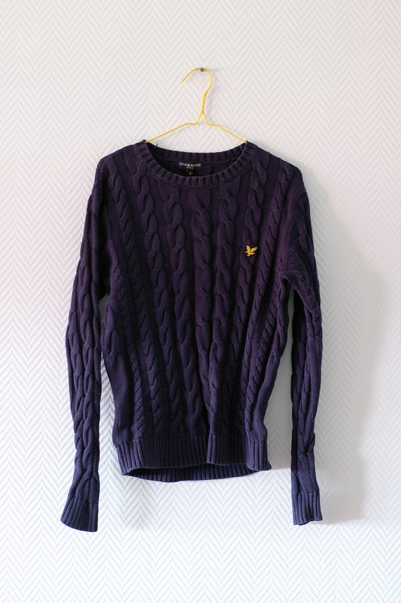 Men's navy blue cable knit sweater