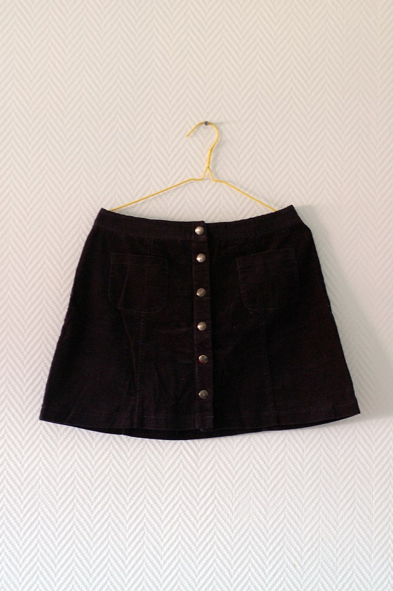 Black corduroy retro mini skirt