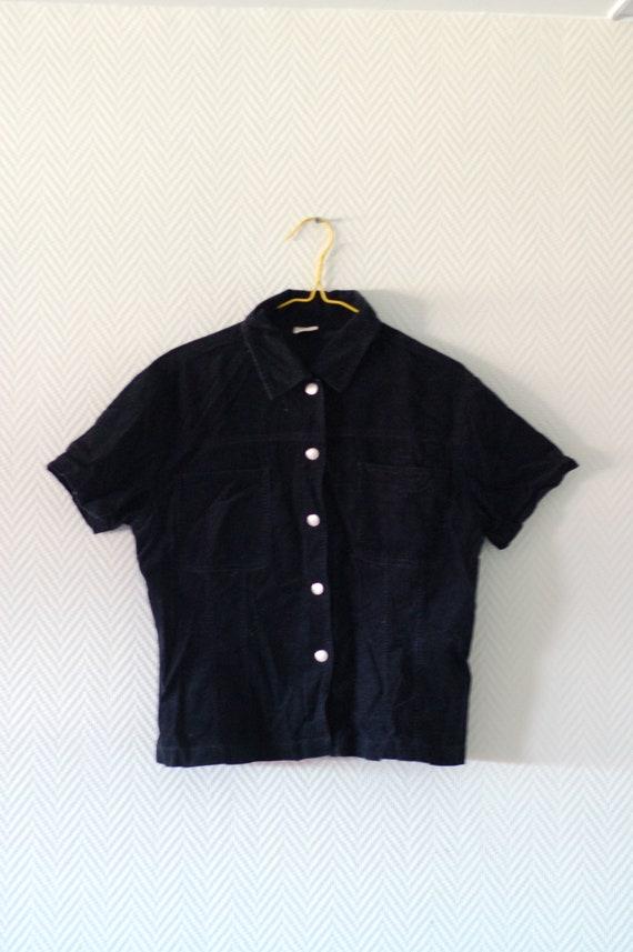 Black cropped corduroy t-shirt