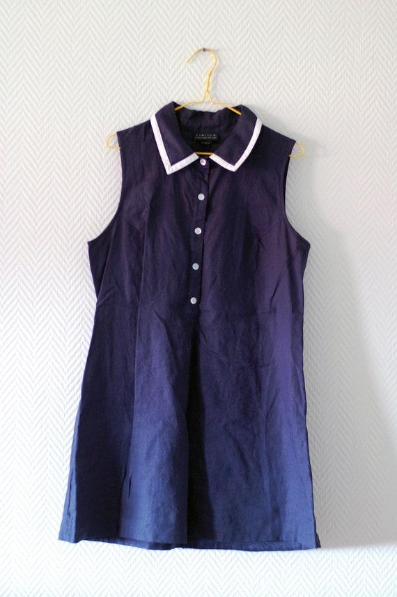 Cute navy blue linen mini dress with collar