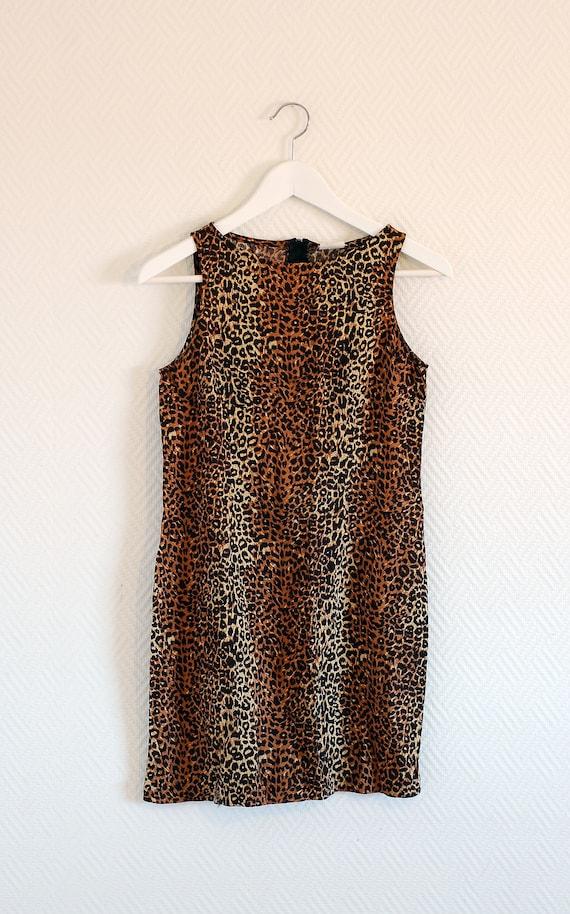 90s leopard print mini dress