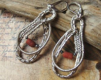 Wire wrapped silver earrings
