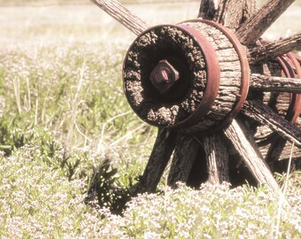 Rustic Photography, wagon wheel, spring flowers, rustic, primitive, Country Home Decor, Fine Art Photograph