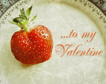 Valentine's Day Card, Valentine Card, Valentine photo card, strawberry, china plate, red, gray, green, Fine Art Photography