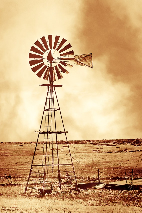 Rustic Art windmill in a dust storm windmill dust storm