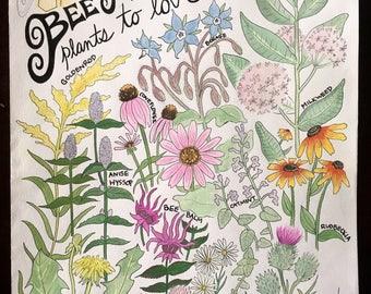Bee Friendly Plants to Love 8.5x11 Art Print