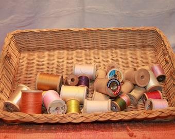 25 Vintage Wood Thread Spools, Some with thread