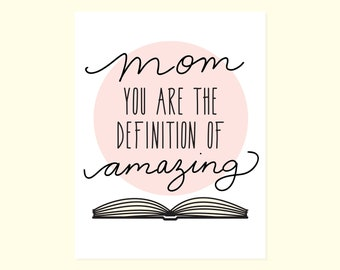 Sweet Mother's Day Card. Funny Mother's Day. Cute Card For Mom. Nerdy Mom Card. Sweet Card. Amazing Mom. Card For Mom. Strong Mom. Book worm