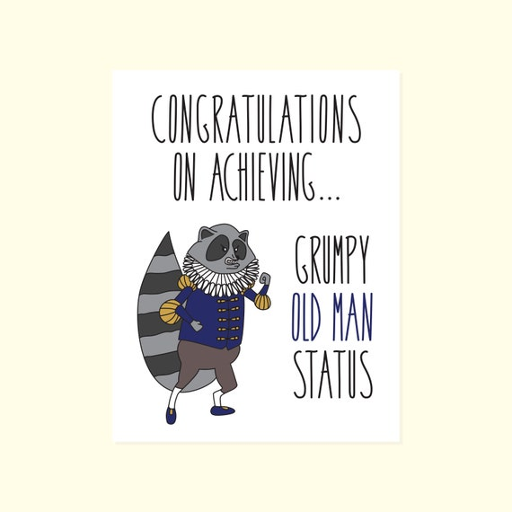 Funny Birthday Card Congratulations On Achieving Grumpy Old Etsy