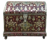 Large Antique Moroccan Cedar Storage Chest - Tuareg Leather, Bone, Silver, Gems - Custom Made Boho Chic