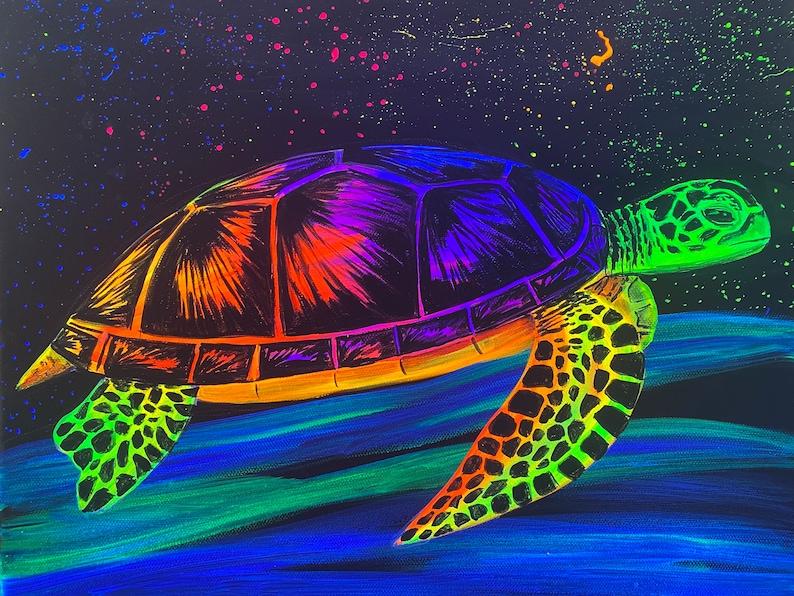 Black light turtle painting