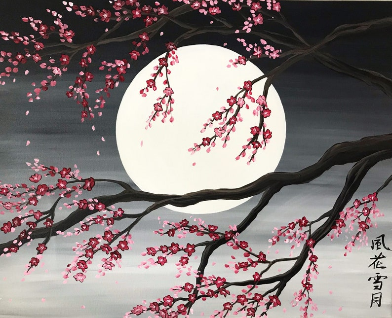 Sakura Painting Cherry Blossom Tree Etsy