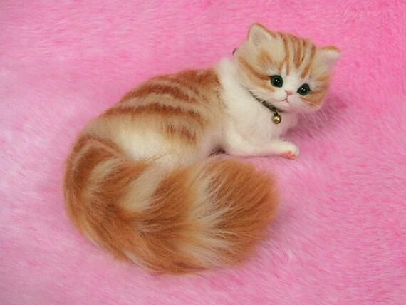 needle felted cute fluffy kitten orange tabby miniature wool etsy