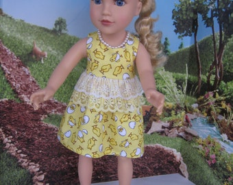"""Darling Easter dress fits Journey Girl dolls and other 18"""" dolls with similar build."""