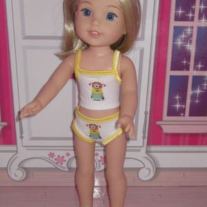 mod underwear set fits dolls such as Wellie Wishers H4H Betsy McCall purple polka dot and colored zebra print made USA 14.5 inch doll 2 pc