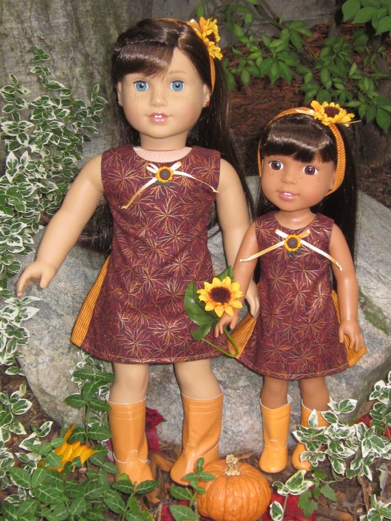Handmade Doll Clothes Dress Assorted Colors fit 14.5 American Girl Wellie Wishers and H4H Dolls