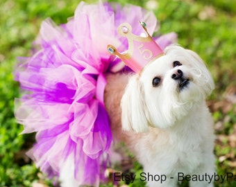 Dog Birthday Princess Tutu and Crown- Read Full Description to Complete Order, Not a One Size Fits All!