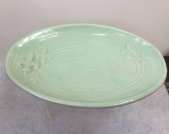 """10-3/4"""" Long 7"""" Wide Vintage Mint Green Pottery Footed Tray Unsigned with Fleur de Lis Embossed in the Clay Great Condition"""