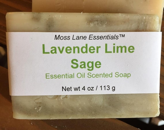 Lavender Lime Sage Essential Oil Scented Cold Process Soap with Shea Butter