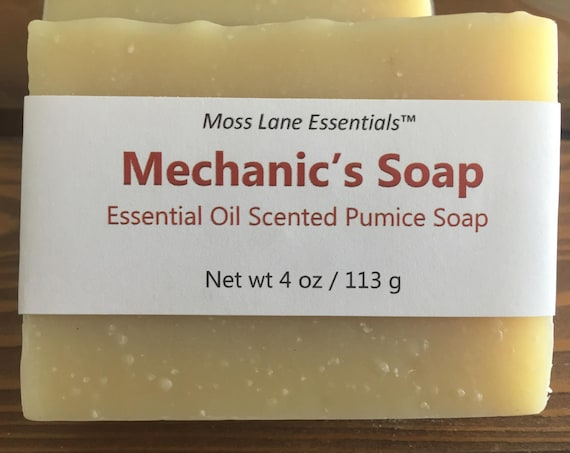Mechanic's Cold Process Soap with Pumice and Orange Essential Oil, 4 oz / 113 g bar