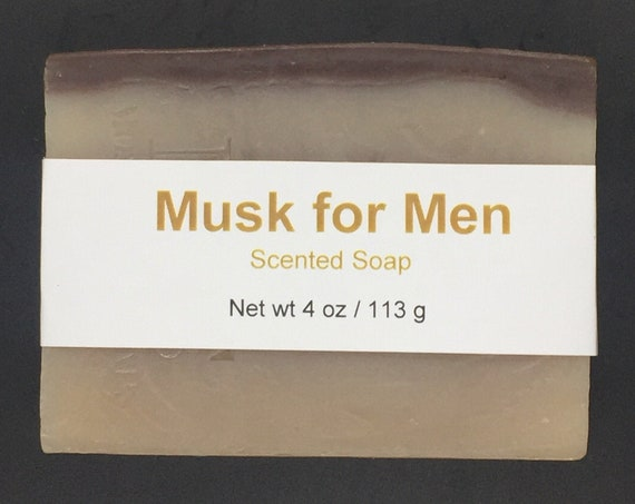 Musk for Men Scented Cold Process Soap with Shea Butter, 4 oz / 113 g bar