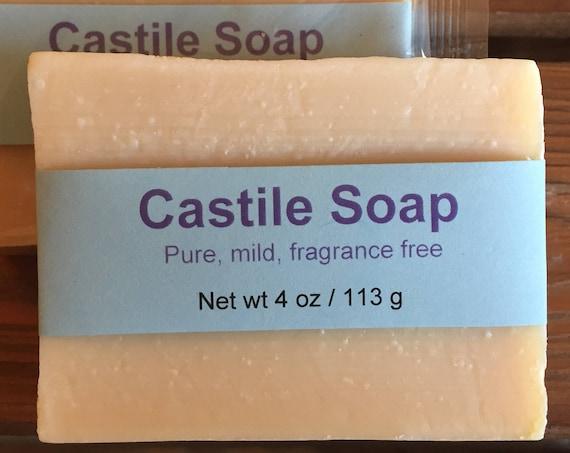 Mild and Gentle Castile Olive Oil Cold Process Soap, Unscented, 4 oz / 113 g bar