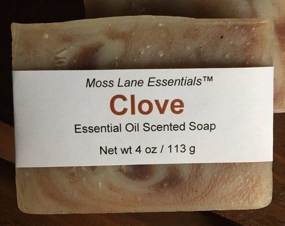 Clove Bud Essential Oil Scented Cold Process Soap with Shea Butter, 4 oz / 113 g bar