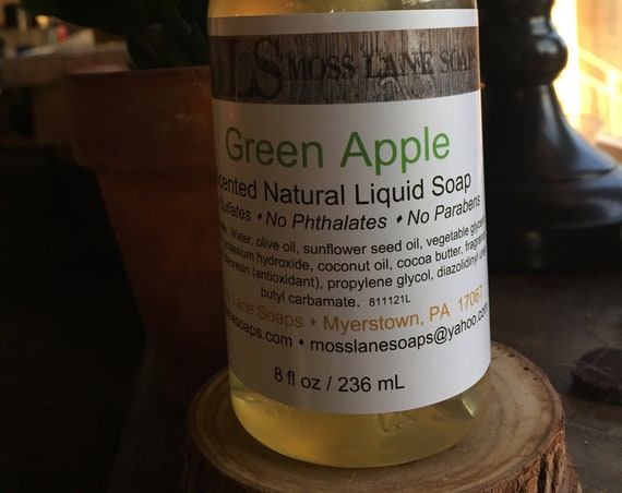 Green Apple Scented Liquid Soap, 8 fl oz Bottle with Pump Top