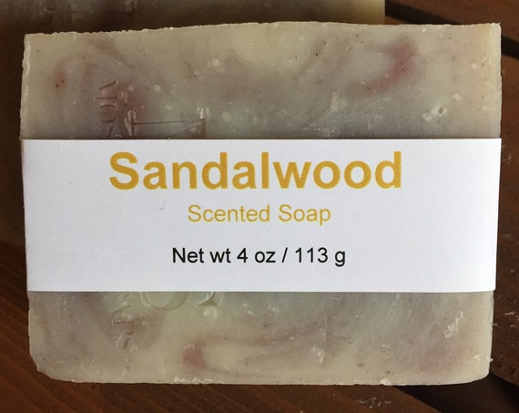 Sandalwood Scented Cold Process Soap with Shea Butter, 4 oz / 113 g bar