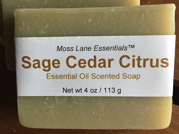 Petitgrain, Clary Sage and Cedarwood Essential Oil Scented Cold Process Soap with Shea Butter, 4 oz / 113 g bar