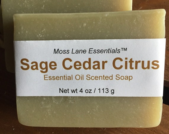 Petitgrain, Clary Sage and Cedarwood Essential Oil Scented Cold Process Soap with Shea Butter