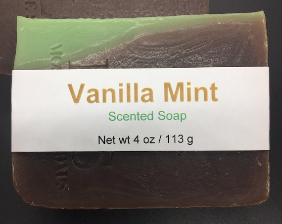 Vanilla Mint Scented Cold Process Soap with Shea Butter, 4 oz / 113 g bar