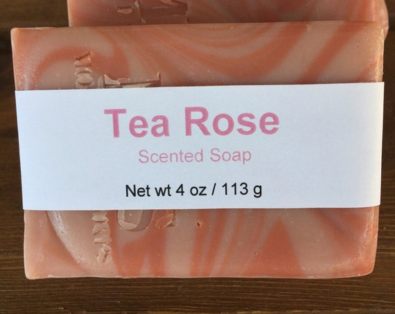 Tea Rose Scented Cold Process Bar Soap with Shea Butter, 4 oz / 113 g bar