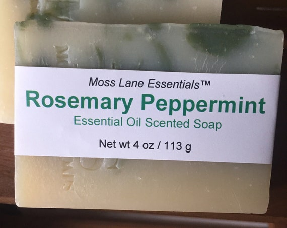 Rosemary Peppermint Essential Oil Scented Cold Process Soap with Shea Butter