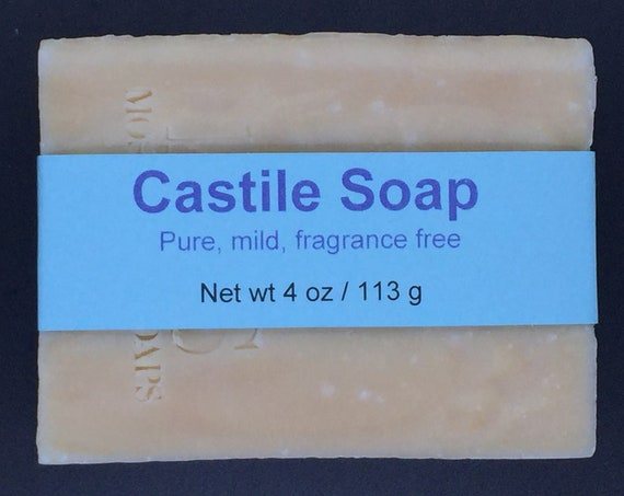 Mild and Gentle Castile Olive Oil Cold Process Soap, Unscented, 4 oz / 113 g bar
