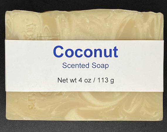 Coconut Scented Cold Process Soap with Shea Butter, 4 oz / 113 g bar