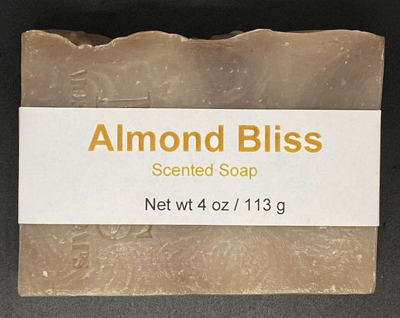 Almond Bliss--Almond, Coconut, Chocolate Scented Cold Process Soap with Shea Butter, 4 oz / 113 g bar