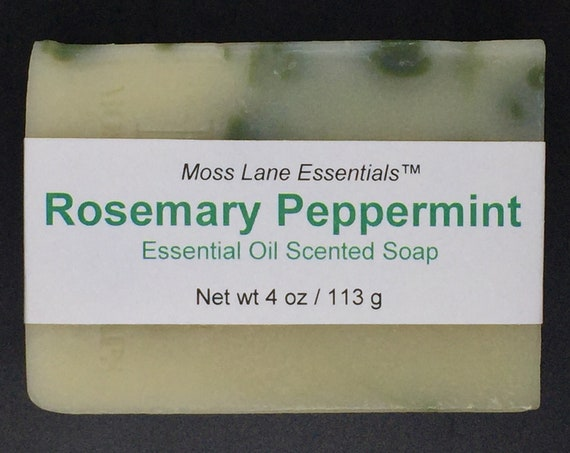 Rosemary Peppermint Essential Oil Scented Cold Process Soap with Shea Butter, 4 oz / 113 g bar