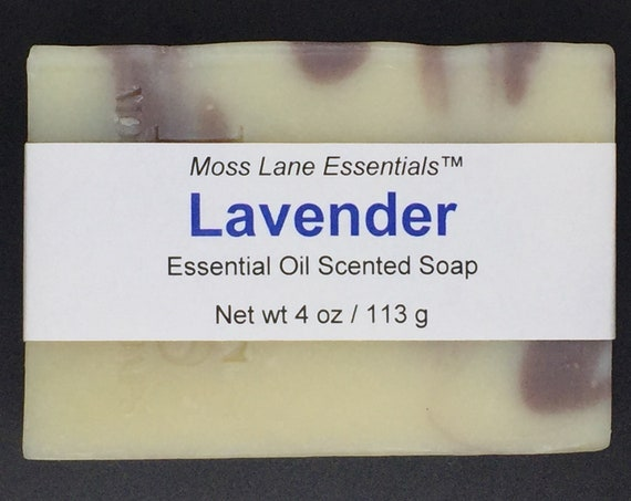 Lavender Essential Oil Scented Cold Process Soap with Shea Butter, 4 oz / 113 g bar