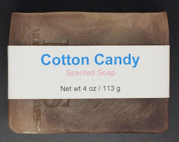 Cotton Candy Scented Cold Process Soap with Shea Butter, 4 oz / 113 g bar