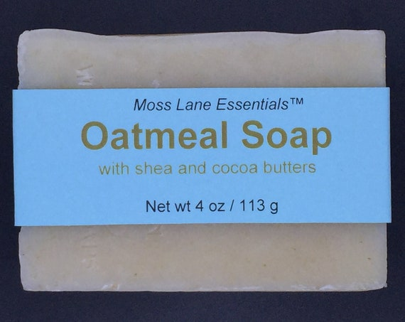 Oatmeal Soap--Unscented Cold Process Soap with Shea and Cocoa Butters, 4 oz / 113 g bar
