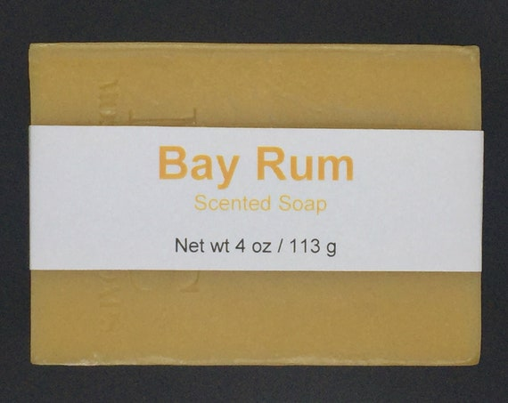 Bay Rum Scented Cold Process Soap for Men with Shea Butter, 4 oz / 113 g bar