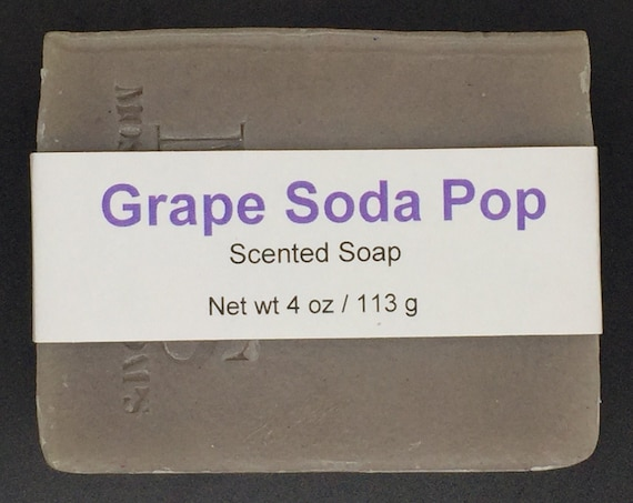 Grape Soda Pop Scented Cold Process Soap for Kids with Shea Butter, 4 oz / 113 g bar